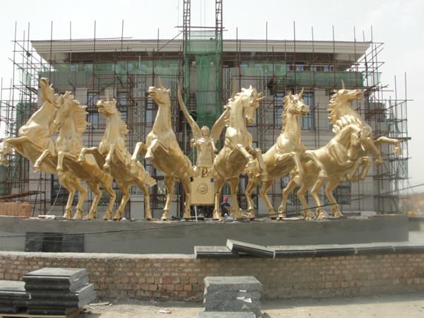铜马雕塑_阿波罗战车雕塑_铸铜阿波罗战车厂家
